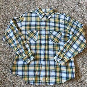 Vtg-Sears-Flannel-Shirt-L-16-16-1-2-Faded-Trucker-Plaid-Grunge-Surf-Hippie