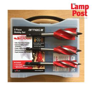 Details about Armeg WWB3PCSET120 - 3 Piece Wood Beaver Stubby Drill Bit Set  - 16 20 & 25mm Kit