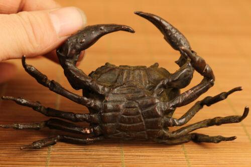 Big Asian tibetan Bronze hand carving crab statue FIGURE Home decoration