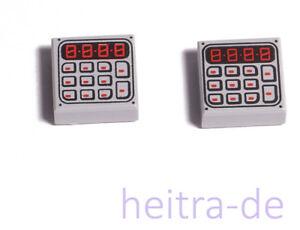 LEGO-2-x-Fliese-1x1-hellgrau-mit-Tastatur-und-Display-3070bpb089-NEUWARE-e3
