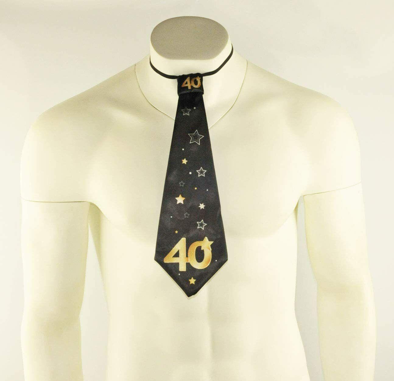 1x Negro 40th Feliz Cumpleaños Corbata Corbata Vestido De Fantasía Gracioso vestir Lazos Estrellas