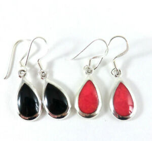 Tropfen-Ohrringe-Koralle-Rot-Onyx-Schwarz-925-Sterling-Silber-Ohrhaenger-Neu