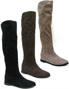 e86014723a1 SALE LADIES SPOT ON CASUAL KNEE HIGH FLAT EVERYDAY COMFY BOOTS F4366 ...