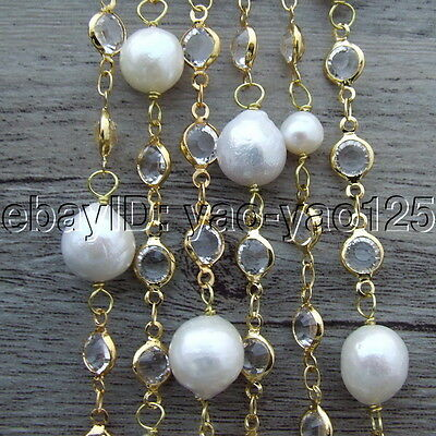 S110305 69'' White Round Keshi Pearl Crystal Chain Necklace