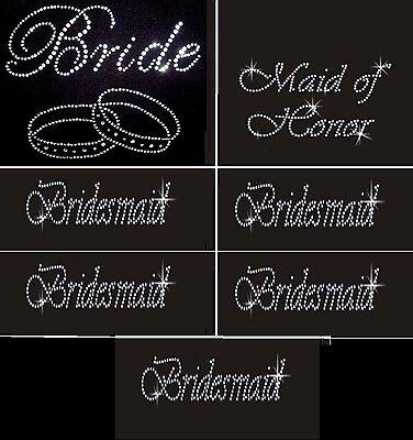 1 BRIDE 3 BRIDESMAID 1 MAID OF HONOR LOT OF 5 RHINESTONE IRON ON TRANSFER