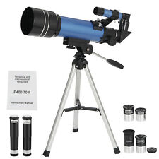 70mm Portable Astronomical Refractor Telescope Travel Scope  4 Eyepieces Tripod