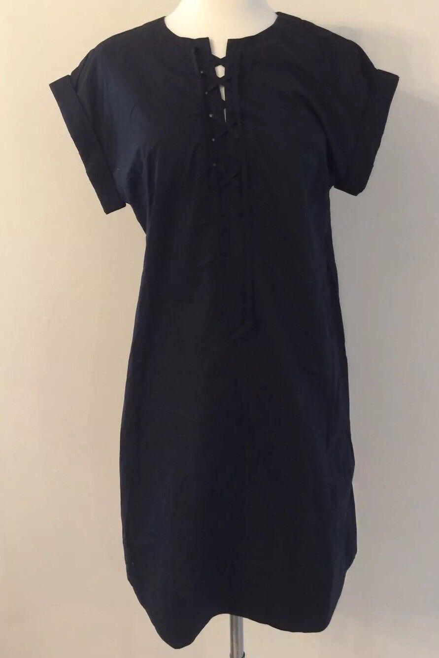 NEW Jcrew Lace Up Cotton Shirt Dress schwarz G5359 SUMMER 2017 XS