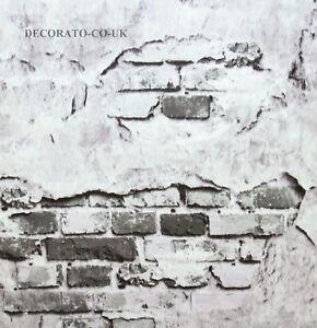 Details About 3d Grey Industrial Broken Brick Feature Wall Wallpaper Vinyl Coated Decor Old Uk