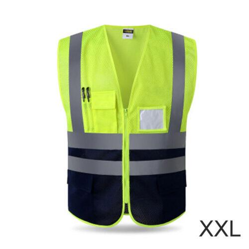 Reflective Zipper Vest Construction Safe Protective Jacket Safety Waistcoat Warp