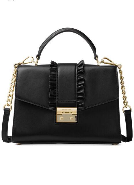 c8352ebef87f10 Michael Kors Sloan Medium Th Satchel Black Leather 30h7gsls2t for ...