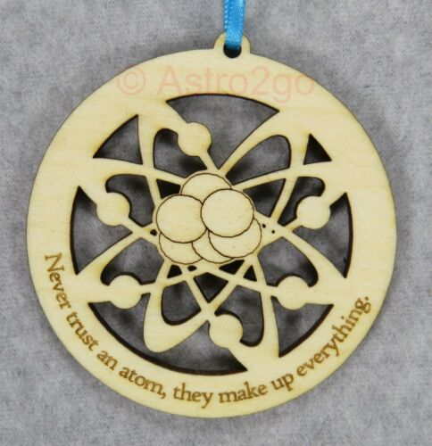 ATOM--Electrons Chemistry Nuclear Physics Science Timber Green wooden ornament