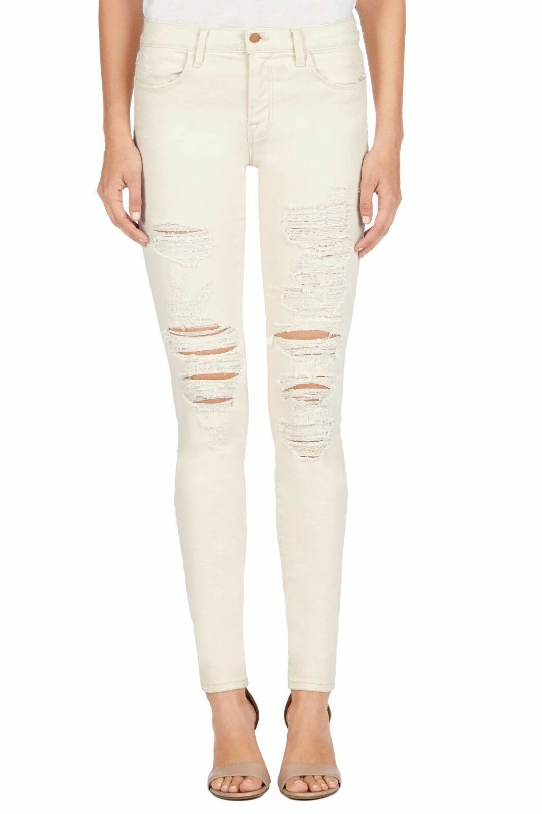 J BRAND 620 Mid Rise Super Skinny Jean, Divo Destroyed Off White Cream - Size 29