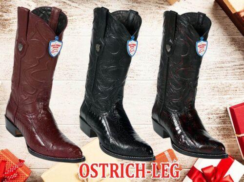 Men Genuine Ostrich Leg Wild West J toe Western Cowboy Boots Handmade