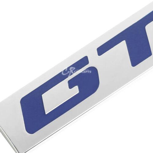 3M TAPE ON METAL EMBLEM DECAL LOGO TRIM BADGE POLISHED CHROME BLUE LETTERING GT