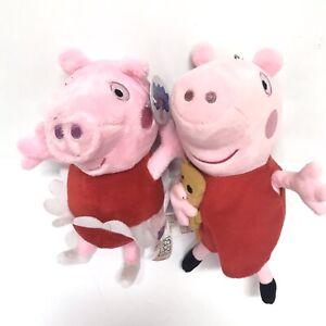 "Lot Of 2 Fiesta NICE SOFT PEPPA PIG 7"" Plush STUFFED ANIMAL Toy NEW NWT"
