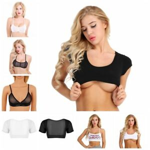Moda-Mujeres-Mangas-Cortas-Malla-Bustier-Crop-Top-Chaleco-Tubo-Camiseta-sin-mangas-Blusa-Camisa