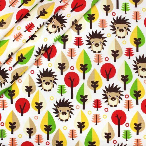 Hermoso Niños Niños Hedgehog Con Hojas Rojo Marrón Amarillo 100/% Tela De Algodón