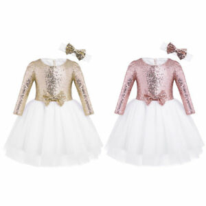 Toddler-Girls-Sequin-Dress-Party-Pageant-Wedding-Bridesmaid-Flower-Bow-Tutu-Gown