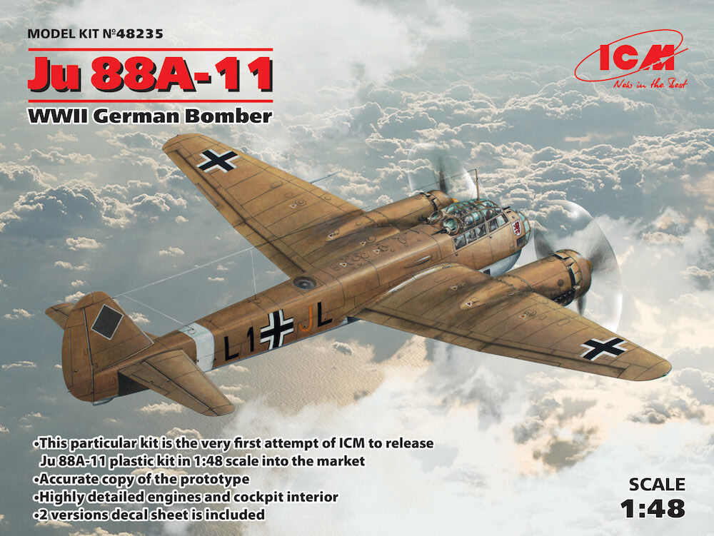 ICM 1 48 Junkers Ju-88A-11 WWII German Bomber