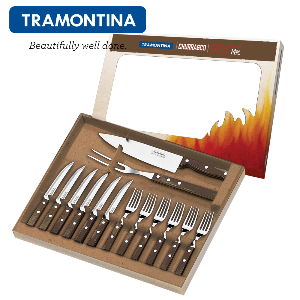 TRAMONTINA Steak Cutlery Set 14 Pcs.Pizza Grill Cutlery Cutlery Cutlery BBQ Fork Knife Churrasco 42aed7