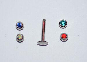 piercing labret avec 4 billes de couleurs traguis cartilage,tige de 6 mm