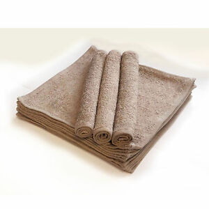 Walnut / Coffee Eco Knit Face Cloths towels flannels wash 12 pack 420 gsm