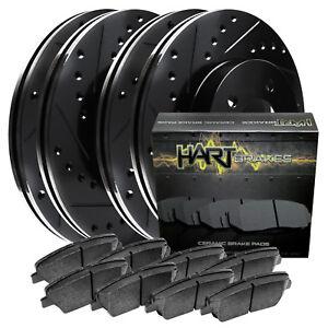 Full Kit Gold Cross-Drilled Brake Rotors Disc and Ceramic Pads Armada,Titan
