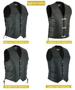 Men-Classic-Black-Motorcycle-Biker-Style-Genuine-Real-Leather-waistcoat-Vest