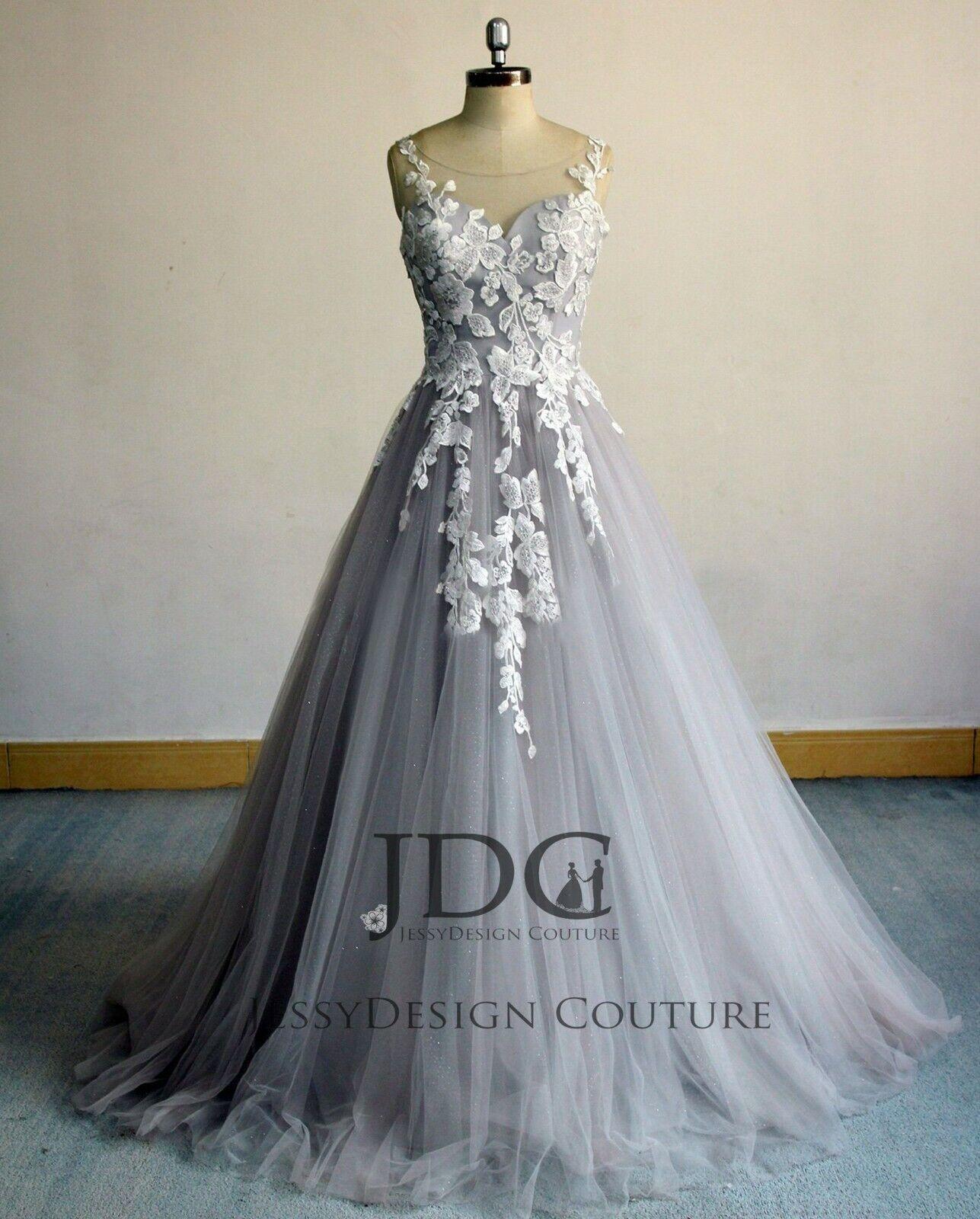 NEU Glitzer Brautkleid Hochzeitskleid Floral Spitze 34 36 38 40 42 44 46 48 Grau