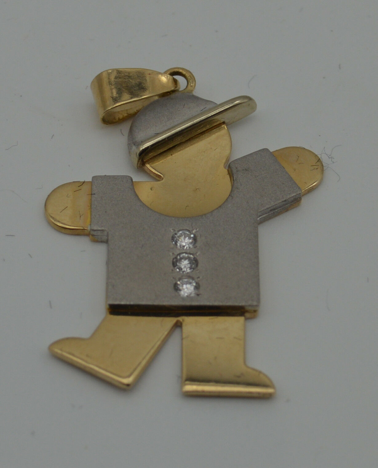 14k gold  Two Tone Diamond boy  pendant charm (ch402)