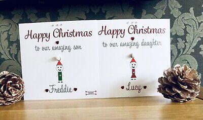 Handmade personalised Christmas Card Son Daughter Niece Nephew Monkey Googly eye