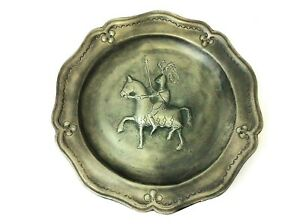 Early-Stamped-Pewter-Hallmark-Angel-Flower-Knight-Jousting-Hanging-Wall-Plate