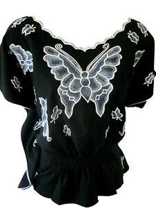 Flutterby S Blouse Top Butterfly XL Boutique Black Butterflyfly qRp0AH4