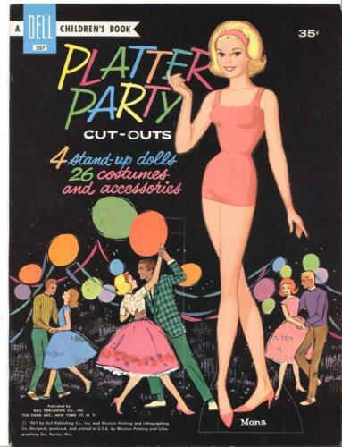 VINTAGE UNCUT 1961 PLATTER PARTY  PAPER DOLLS HD LASER REPRODUCTION~LO PR~ HIQ