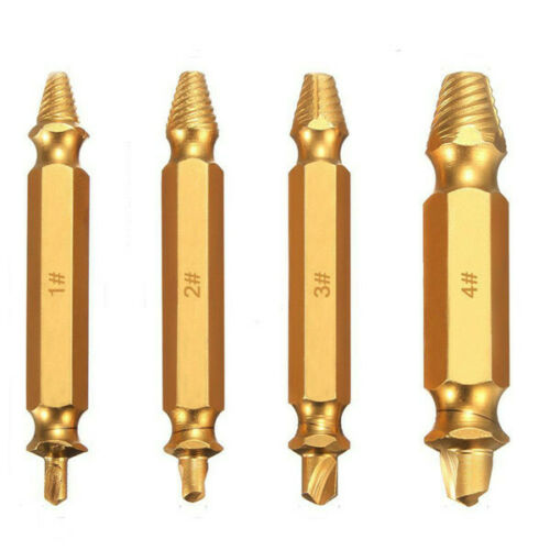 Drillpro 4Pcs Double Side Damaged Screw Bolt Extractor Drill Bits Gold Oxide Edi