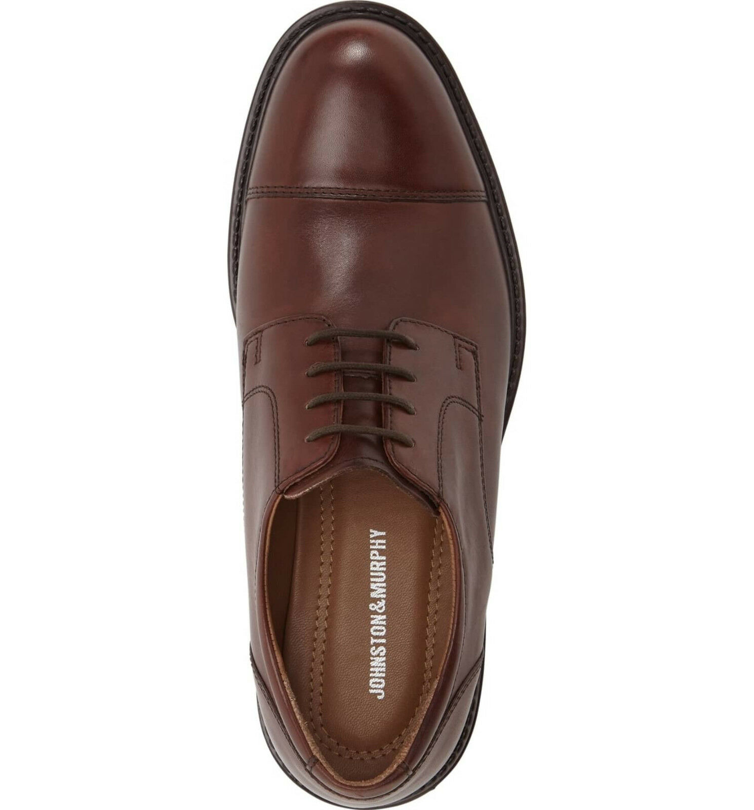 JOHNSTON & MURPHY Tabor Cap Toe Derby Leather Brown, Brown, Brown, Size 12M 17b315