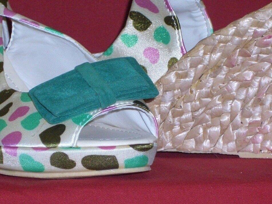 Sandalen mit Herzen, Schleife und HJYCHINA Keilabsatz Wedges Gr. 38 HJYCHINA und neu 7957aa