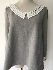 NEW LOVE MOSCHINO GREY CRYSTAL EMBELLISHED TOP SIZE UK12 RRP £235 100%AUTHENTIC