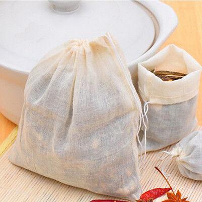 10/50/100Pc 8x10cm Cotton Muslin Drawstring Reusable Bags for Soap Herbs Tea Hot