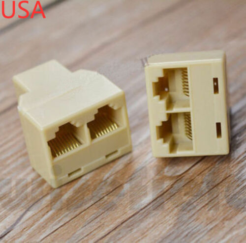2 x RJ45 CAT 5 LAN Ethernet Port 1 to 2 Socket Splitter Connector PC Adapter