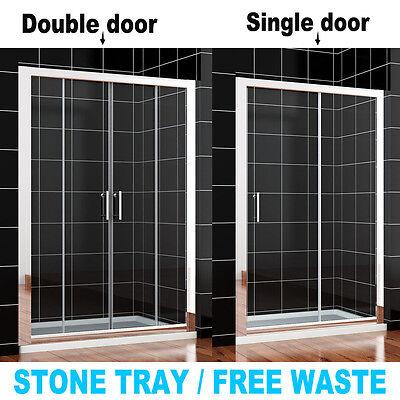 Single/Double Sliding Walk In Shower Enclosure Screen Door+Side Panel+Stone Tray