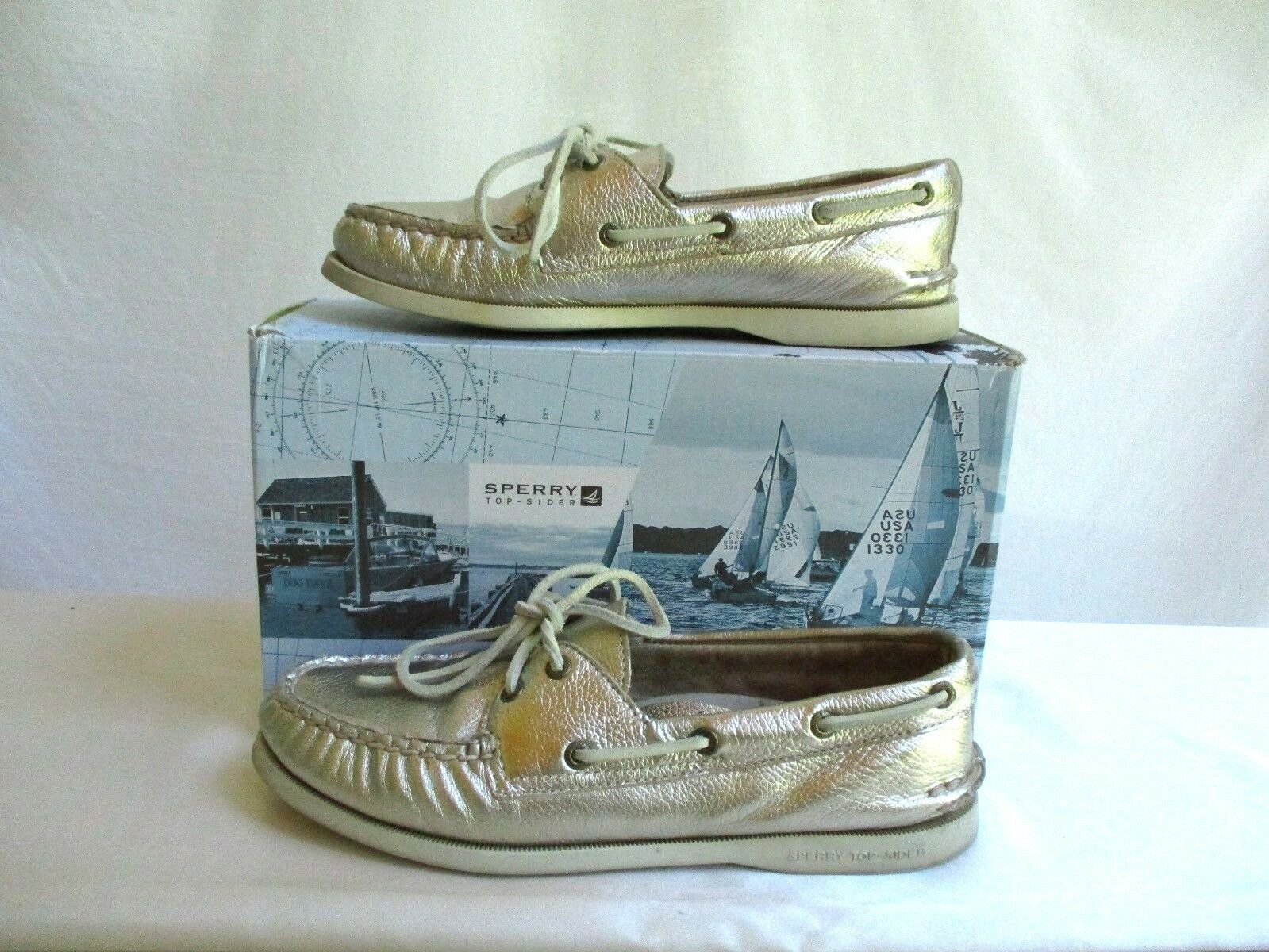 Sperry Top-Sider for J.Crew Taille 8.5 Authentic Original 2Eye Metallic Boat chaussures