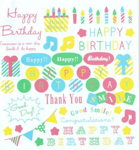 Cute Pastel Joyeux Anniversaire Cardmaking Stickers Planner Scrapbooking Craft kawaii