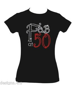 Image Is Loading FAB AT 50 50TH BIRTHDAY GIFT RHINESTONE DIAMANTE