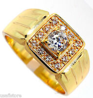 Mens Classic Design Cz & Crystal Gp Ring Size 12