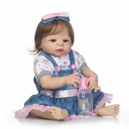 22/'/' Reborn Baby Girl Doll Full Body Silicone Vinyl Anatomically Correct Bath