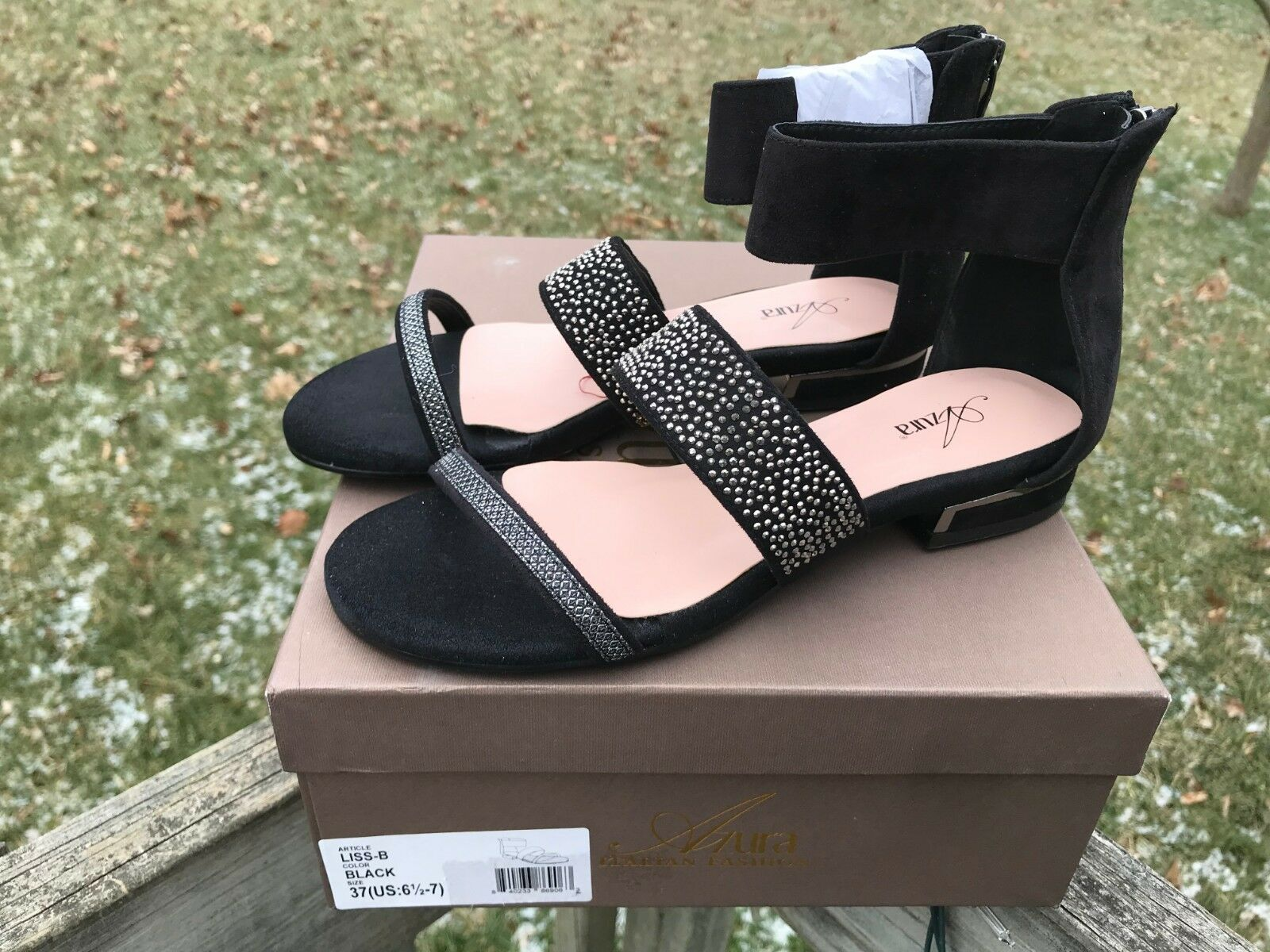 Azura Womens Liss Gladiator Flat Sandal Black Suede Rhinestone Size 37   6.5-7