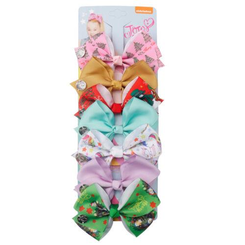 """7pcs//set 4/"""" Christmas Printed Ribbon Hair Bow Hair Clips For Kids Princess Party"""