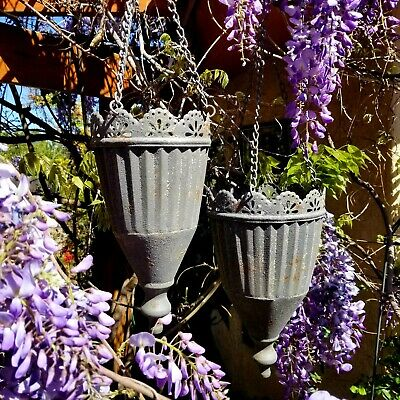 Antique Cottage Style Metal Hanging Flower Pot Planter Urns Set of 2