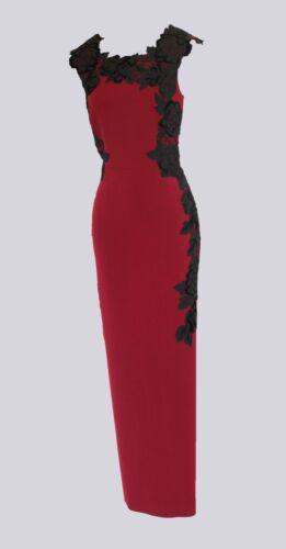 Vestido de fiesta KAREN MILLEN impresionante Velvet Maxi de adorno floral UK10 BNWT RRP £ 350